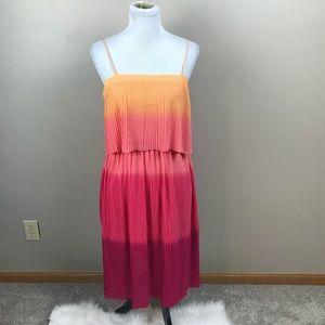 Ombre Pleated Dress Pink Orange Neon Bright